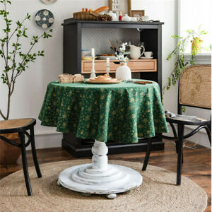 Round Tablecloth Vintage Christmas Party Table Cloth Cover Geometric Home 60inch