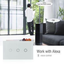 Alexa Smart WiFi Light In Wall Power Switch 3 Gang Touch Panel Control US Stock