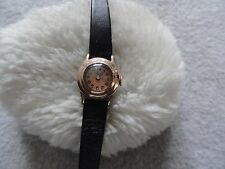 Vintage Bulova Wind Up Ladies Watch with a Black Leather Band - Small