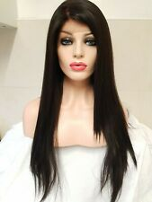 Dark Brown Black Human hair lace wig, Swiss lace, silk lace,hand tied, free part