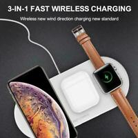 3 In1 Qi Wireless Fast Charging Pad For Apple iWatch iPhone 11 Pro Max Samsung