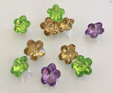 10 X Mixed Colour Acrylic Rhinestone Flower Buttons - Australian Supplier