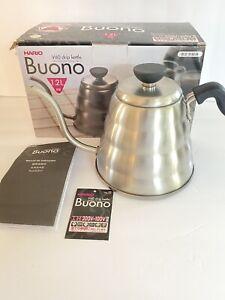Hario Gooseneck Coffee Tea Kettle Buono Stovetop 1.2L Stainless Steel Silver