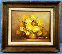 """Robert Cox Roses Painting 12""""x14"""" Oil on Board Floral Still Life Lox Bouquet"""