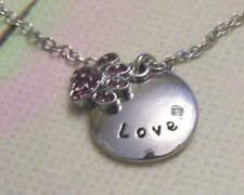 UNIQUE LOVE AND CRYSTAL PAW PENDANT [With  18 Inch Silver Chain]