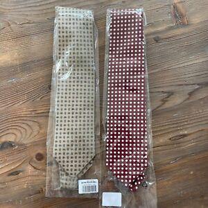 Two Drake's Hand Made 100% Silk Men's Ties MSRP $135 Each - Burgundy Polka Dot