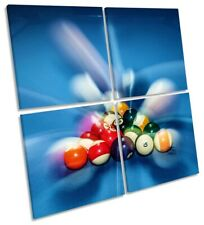 Pool Nine Ball Picture MULTI CANVAS WALL ART Square Blue