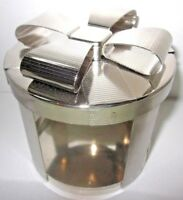 Candle Holder Sleeve Ribbon Bow Lid Silver Bath Body Works 14.5 oz 3-wick