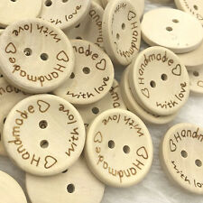 50//100pcs Mix Grid Wood Buttons 15mm Sewing Craft 2 Holes WB284