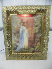 Vintage Lighted Illuminated Holographic 3D Gold Frame Jesus In The Garden