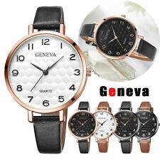 Luxury Womens Men Round Watch Silver Gold Leather Belt Wrist Watches