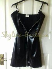 Sexy wet look pu pvc zip up mini fancy dress lingerie club wear uk S/M 8 10 12