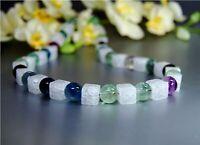 Halskette aus Edelsteinen Bergkristall und Fluorit in Kugel- und Würfelform