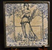 "Antique Metal Framed Early Josiah Wedgwood & Sons Ceramic Tile 6.25"" x 6.25"" VG"