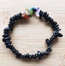 Gemstone Crystal Chip Stone Black Tourmaline Stretchy Chakra Bracelet Protection