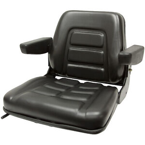 355 Universal Fold-Down Black Seat w/Armrests Black Talon 355000BK 1-3206