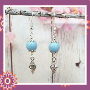 Silver Colour Vintage Earrings Blue Ceramic Bead Antique Style Dangly Diamond