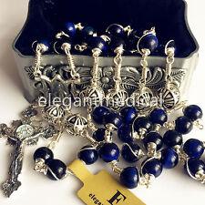 Catholic Bali Sterling Silver Rosary BULE Tiger Eye Bead Cross Necklace Gift Box
