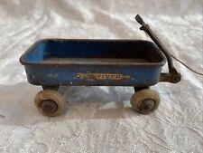Vintage Miniature Radio Flyer Wagon Mini Blue Radio Steel MFG Co. Chicago 1934