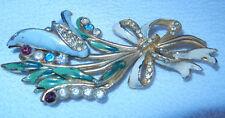 Vintage 1920 s Retro  Colorful Enamel  Rhinestone Flower Pin Brooch