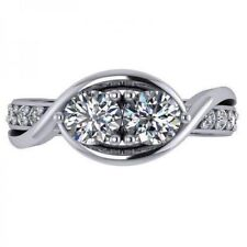 Round Stone White Plated In 925 Ss Women's Promise Engagement Ring With 2 White