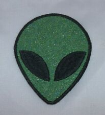 Embroidered Retro Lime Green Glitter Alien Head Applique Jacket Patch Iron On