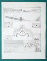 FORTIFICATIONS Attack by Underground Tunnels Types of Mines - 1828 Antique Print