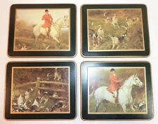 Vintage Set of 4 English Fox / Hound Hunting Coasters Lady Clare Made in England