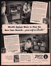 1949 ZENITH Bradbury & Dartmouth Radio Phonograph Antique Console PRINT AD