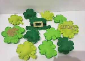 (12)  St. Patrick's Patricks Felt Shamrocks Crafts Bowl Basket filler Decor