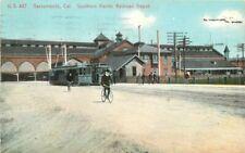 1914 Sacramento California Southern Pacific Railroad Trolleys Depot 10932
