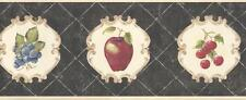 Wallpaper Border French Style Fruit Cherries Apples Pears & Grapes  Black Tan