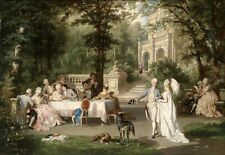 Nice Oil painting Carl Schweninger Jr. - Elegant Group in the Palace Grounds 48""