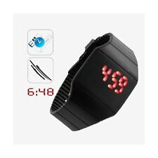 Silicone watch ultra thin RED LED TACTILE bright - black - Top trend