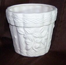 Ceramic Bisque Planter -Very Detailed Wood & Flowers - Dee-F132 - Ready to Paint