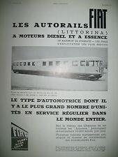 PUBLICITE DE PRESSE FIAT AUTORAILS LITTORINA AUTOMOTRICE FRENCH AD 1934