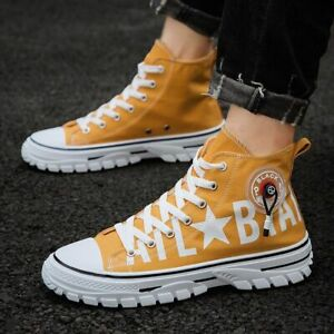 Men's Canvas High Top Flat Shoes Sneakers Board Sports Loafers Lace-Up Style