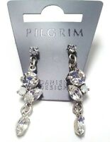 NEW PILGRIM SILVER EARRINGS  CRYSTALS AB HANDMADE DROP DANGLE CLASSIC WEDDING