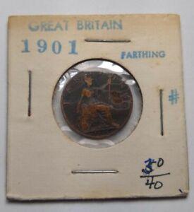 1901 GREAT BRITAIN FARTHING KM # 788.2 Queen Victoria Bronze Seated Britannia