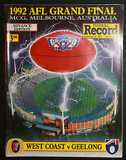 1992 Grand Final  record West Coast vs Geelong unmarked  Premiers