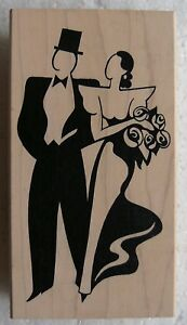 Art Deco stamp man woman couple tuxedo top hat gown black tie JudiKins 2379H