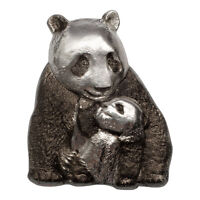 2017 Cook Isl $20 88g HR Antiqued Proof Silver Lucky Panda Shaped OGP SKU45020