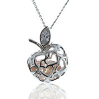 SOLID 925 STERLING SILVER 3D APPLE PENDANT WITH CUBIC ZIRCONIA CHAIN NECKLACE