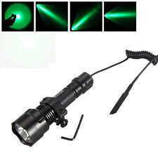 Tactical 5000lm C8 LED Hunting Flashlight Rifle Picatinny Mount+Pressure Switch
