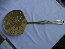 More details for  vintage brass chestnut roaster / skimmer / strainer - 46 cm