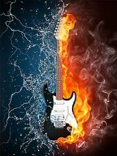 Art PRINT Poster Music Instrument Drawing Guitar Fire Water NOFL 0052