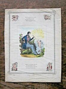c1850 Victorian Valentine Card JL Marks Poem Handcoloured Print Engraving Cupids
