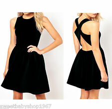 Sexy Womens Celebrity Club Party Strap Cross Open Back Flared Skater Dresses 2XL