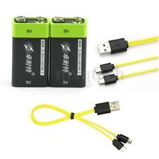 2pcs ZNTER 9V 400mAh Li-ion Polymer USB Rechargeable Battery + Micro USB Cable