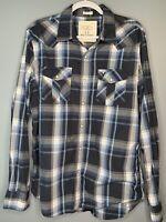 American Eagle Mens Large Western Pearl Snap Long Sleeve Shirt Multicolor Plaid